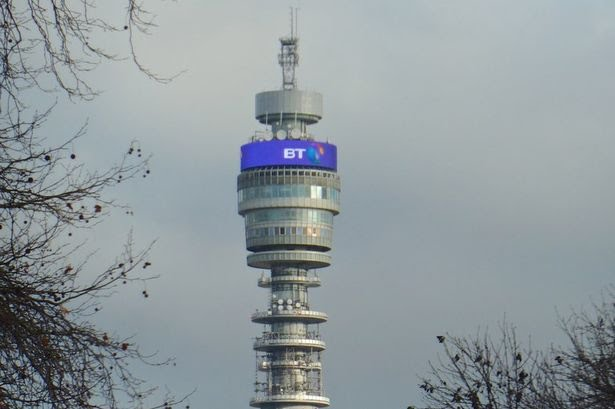 The BT Tower in London with grey clouds behind